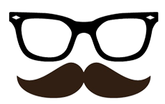 A prop image of a a moustache and glasses