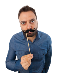 A silly man with a moustache prop