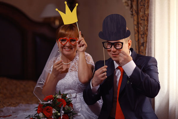 Staged wedding photo