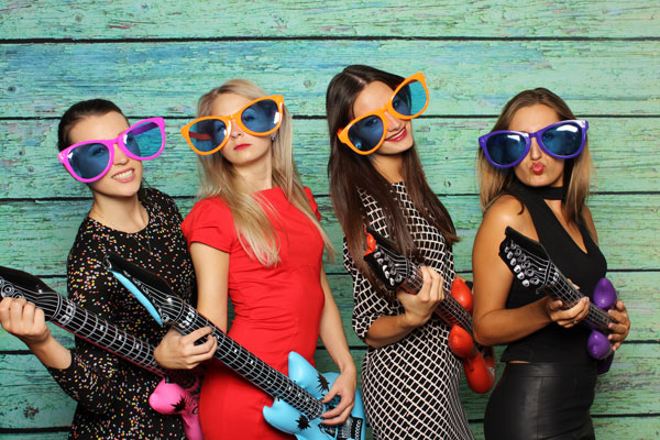 The girls in photo booth party