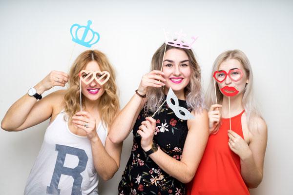 Three happy young ladies girls