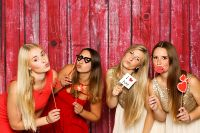 Four girls having fun on a night out