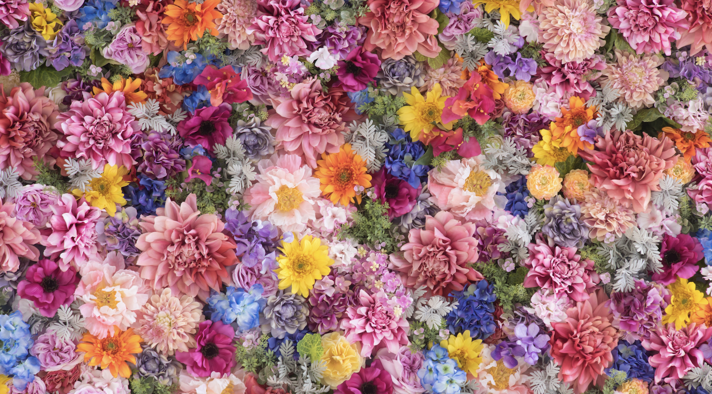 A beautiful made up wall full of different types of flowers.